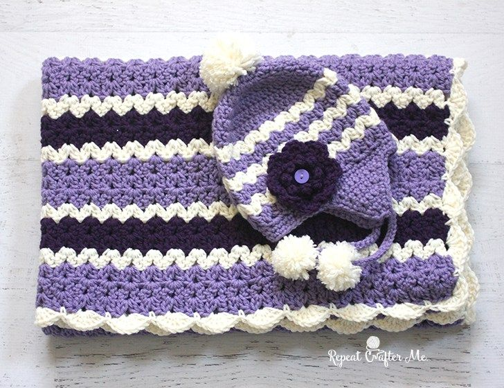 V Stitch Set - FREE crochet patterns on Repeat Crafter Me! (hat by BobWilson123 linked in post)