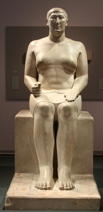 Hemiunu (2570 BC) is believed to be the architect of the Great Pyramid of Giza, Egypt. A son of Prince Nefermaat and his wife Itet, a grandson of Sneferu and relative of Khufu, the Old Kingdom pharaoh. In his tomb he is described as a hereditary prince, count, sealer of the king of Lower Egypt. His unidealized body is shown as flabby, with accumulation of fat in the pectoral region. This contrasts with the more usual virile representations of royal male subjects.