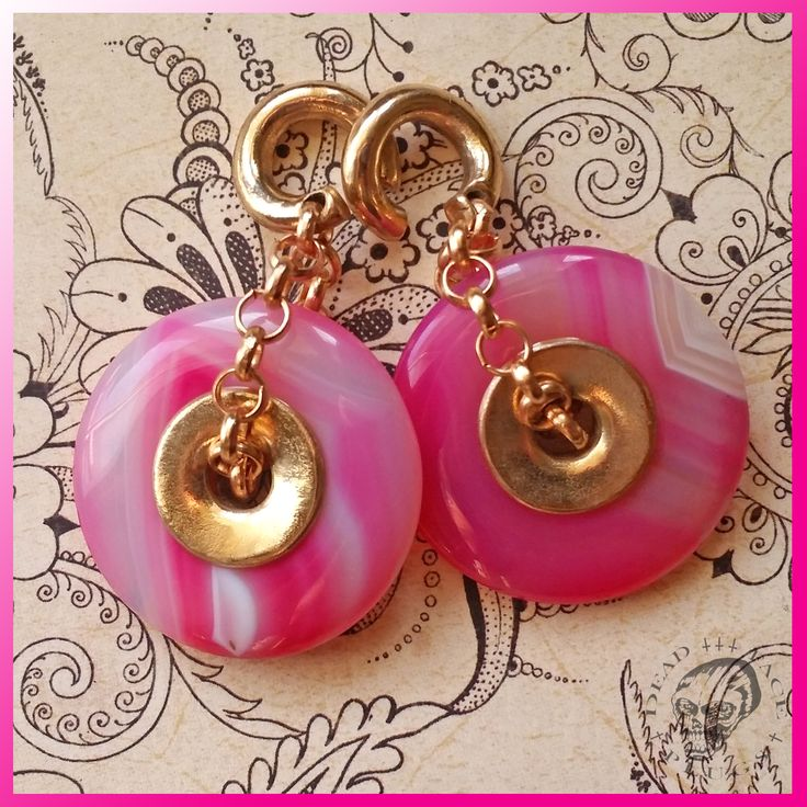 Candy Pink Agate Donut Ear Weights