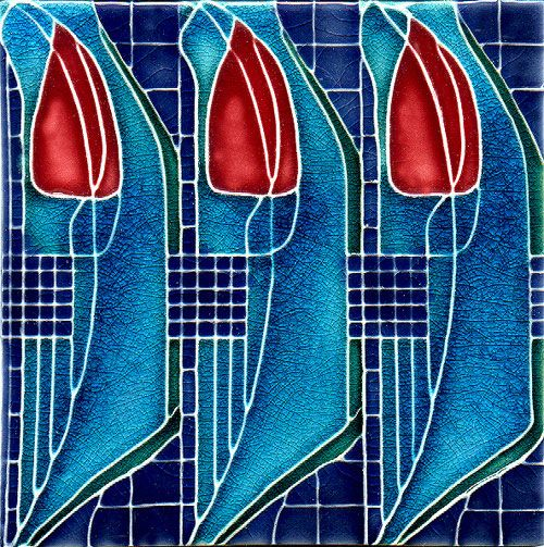 Historic Tiles - Moulded Art Nouveau Tiles - Mackintosh Tile