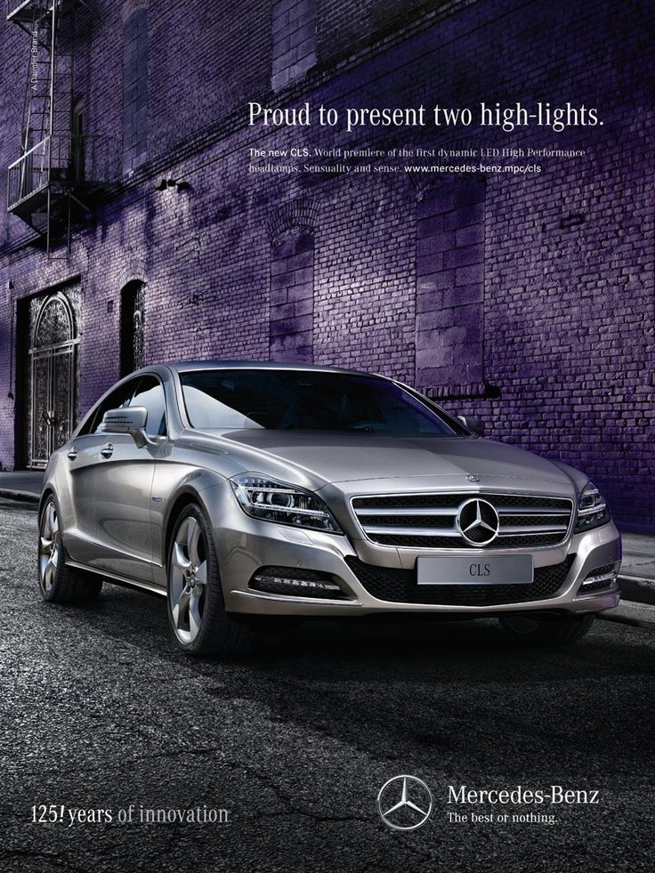 """This image is designed for the higher class. The slogan """"Proud to present two high-lights"""" helps to attracts people's attentions as """"Proud"""" and """"High"""". The background of the image makes the silver color of the car looks unique and helps to remind the history of the company, """"125! Years of innovation."""" We all knew that scarcity is something very expensive so as in this case, the adverts trying to make people gain the feeling that the car is rare."""