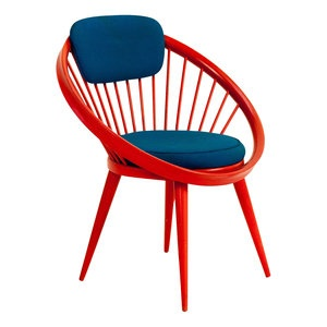 1960u0027s Yngve Ekström Circle Chair Red Laquered Wooden Frame With  Contrasting Blue Upholstery.