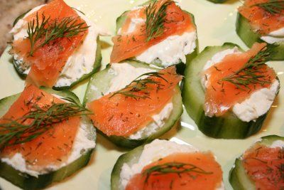Cold smoked salmon with dill and cream cheese. Maybe baguette slices instead of cucumbers?