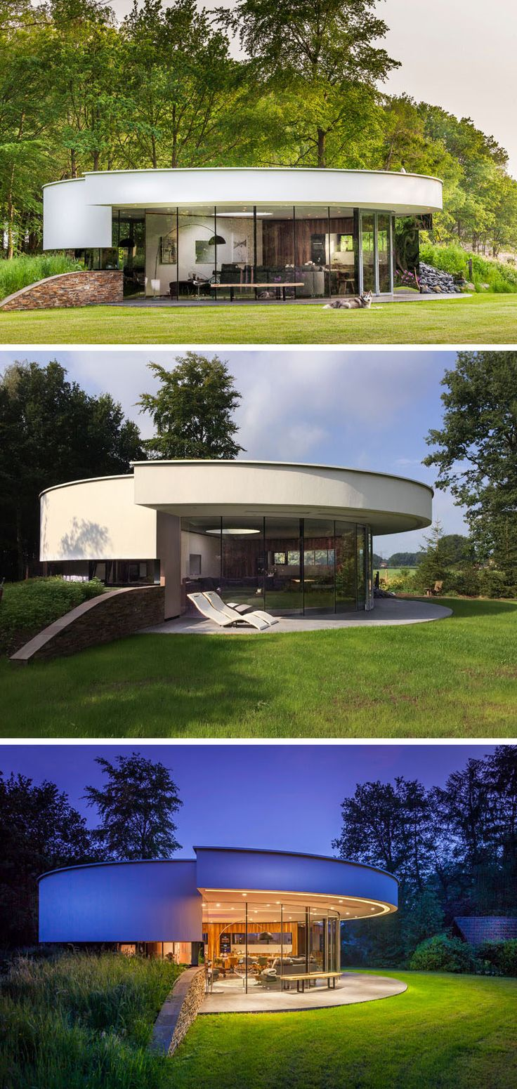 The circular design of this small modern house makes the most of the views of the forest surrounding the home. No matter where you are in the house, you can still see and enjoy the views of the trees and the garden just outside.