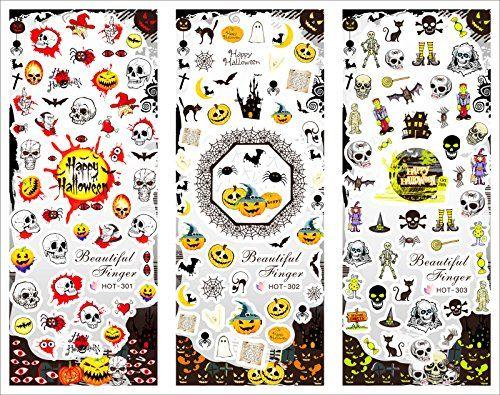 Ouneed® 1 Paquets Ongles Stikers Mixes Crâne / Citrouille / Os / Chauve-Souris (A)