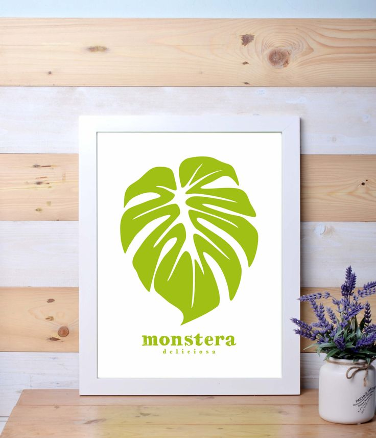 monstera leaf, green, poster, wall decor, tropical plant by LanternLife on Etsy