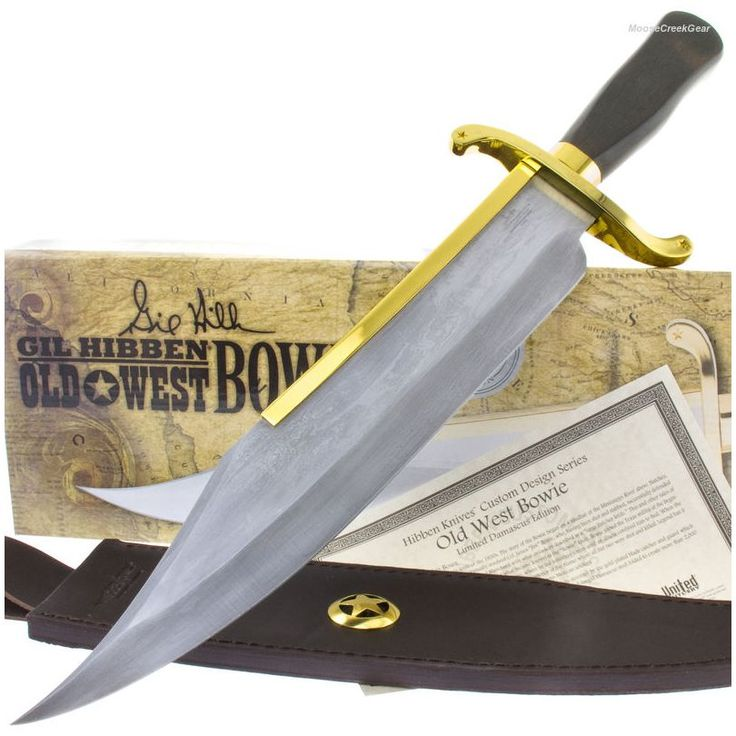 Gil Hibben GH5013D Old West Genuine Damascus Bowie Knife Forged | MooseCreekGear.com | Outdoor Gear — Worldwide Delivery! | Pocket Knives - Fixed Blade Knives - Folding Knives - Survival Gear - Tactical Gear