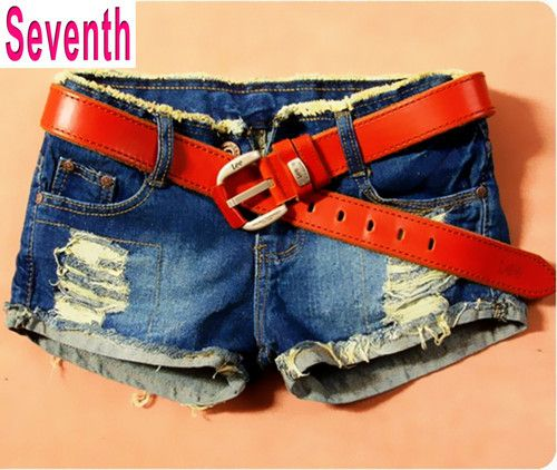 Aliexpress.com : Buy Free Shipping Fashion Korean Style Holes Embellished Hemming Denim Shorts All Match Casual Women's Short Jeans Without ...