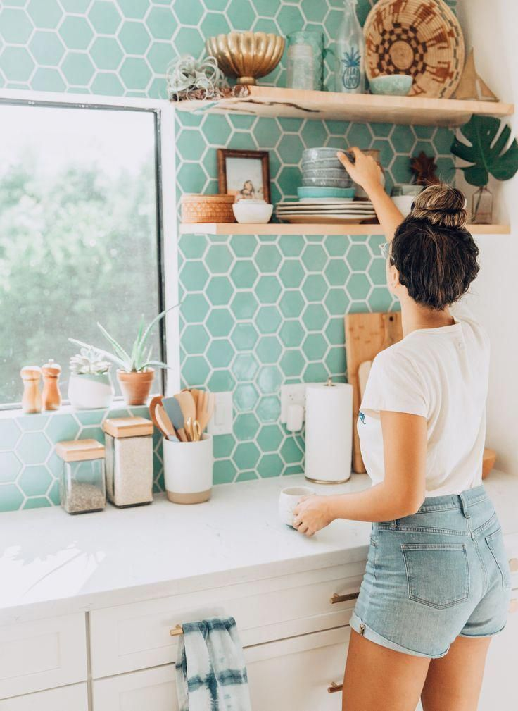 Kitchen Renovation Reveal Tropical Modern Bohemian Kitchen Aqua Blue Hexagon Tile Backspl Bohemian Kitchen Eclectic Kitchen Backsplash For White Cabinets