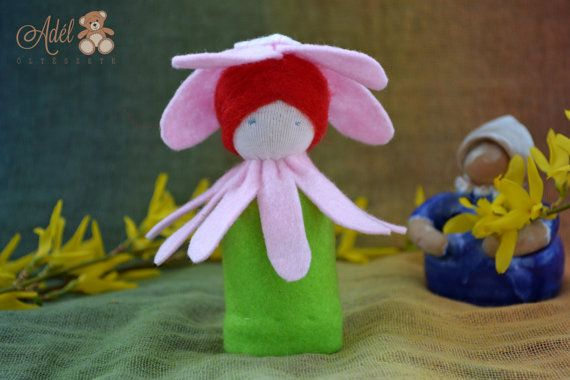 Cherry Flower Doll - Waldorf inspired flower child for spring nature table