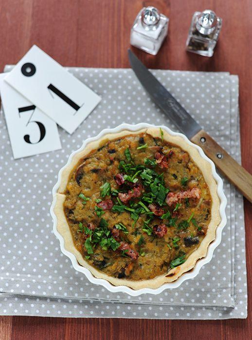 Quiche zöldségekkel és vörös lencsével