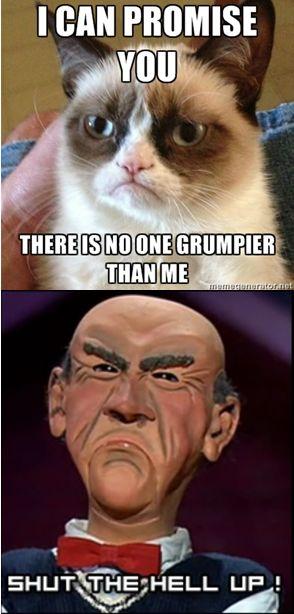 Grumpy Cat vs. Walter ..... Jeff dunham! Great comedian!