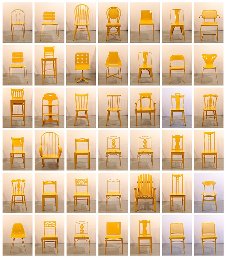 Street Seats is a furniture project developed by Bade Stageberg Cox.The 50 chairs, found abandoned on the streets of New York, were repaired and given a new life with a coat of taxi cab yellow paint. Like the city's residents, the chairs are an eclectic mix. The bottom of each chair is stamped and documented with the date and location it was recovered. See them all here http://www.bscarchitecture.com/streetseats.html