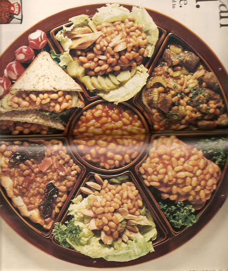 Baked Bean Appetizer Party Tray, from the good folks at Heinz. Check out the baked bean sandwich next to the radish roses.