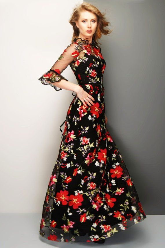 1e954b04bd0c Floral lace maxi dress with high neck and sleeve ruffels