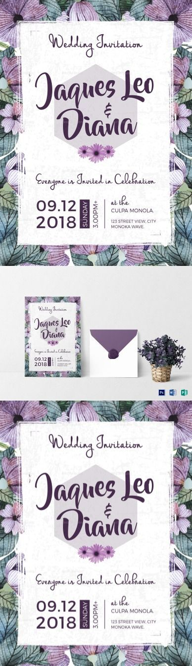 Watercolor Flowers Wedding Invitation Template - Easy to edit and printable design available in MS Word, Photoshop, Publisher