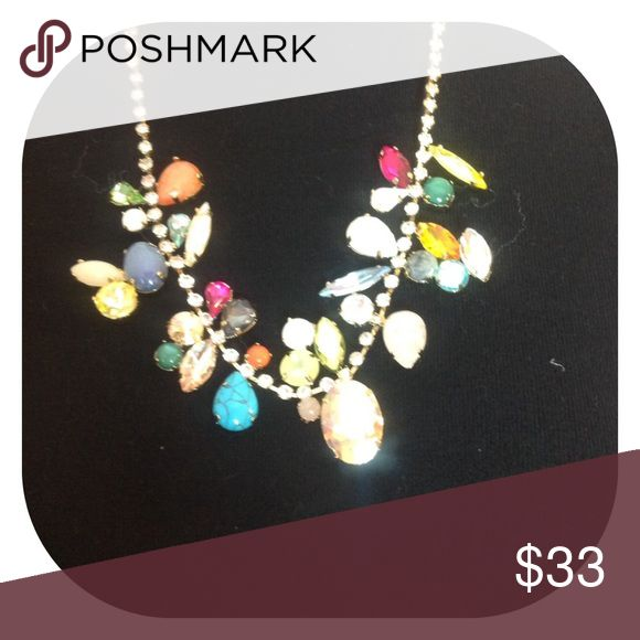 Nice necklace Multi colored glass and stones on Rhinestones. Lobster closing. Susan Graver Jewelry Necklaces