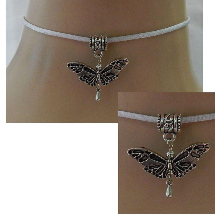 Silver Butterfly Pendant Choker Necklace Handmade Adjustable NEW Accessories #Handmade #Choker