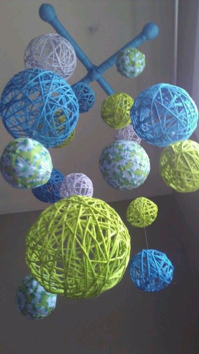 I made yarn balls like these for a baby shower. Can make them as large as a beach ball.