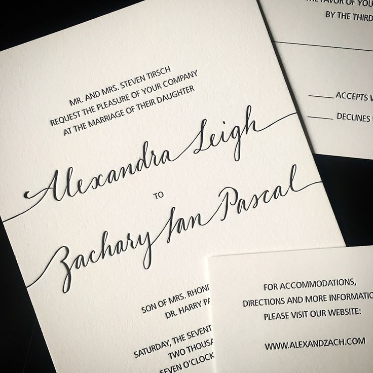 Tirsch Black Letterpress Wedding Invitation on 1 ply