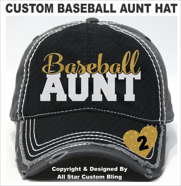 Glitter Baseball Aunt Hat, Baseball Aunt Distressed Hat, Aunt Baseball Hat, Custom Baseball Hat, Personalized Baseball Aunt Hat by AllStarCustomBling on Etsy
