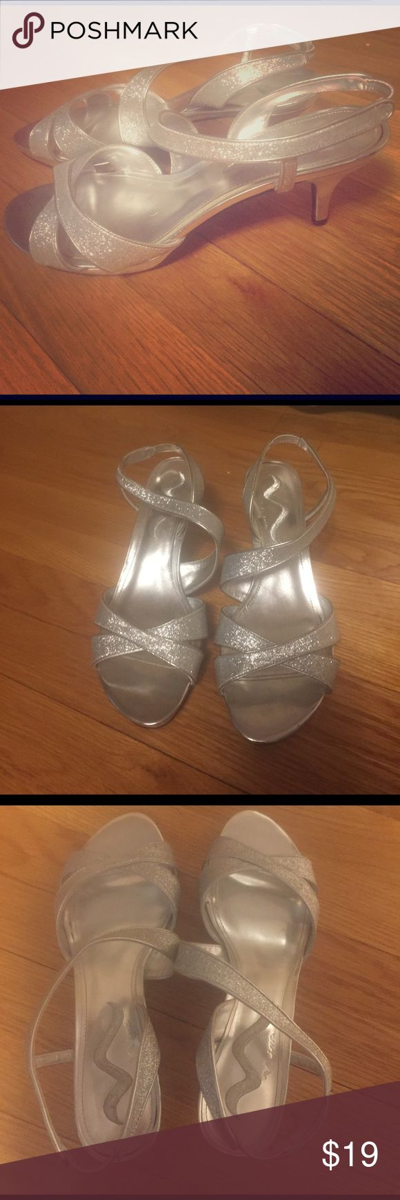 Low heel silver shoes Perfect for a wedding! These were worn only once ! Nina Shoes Sandals