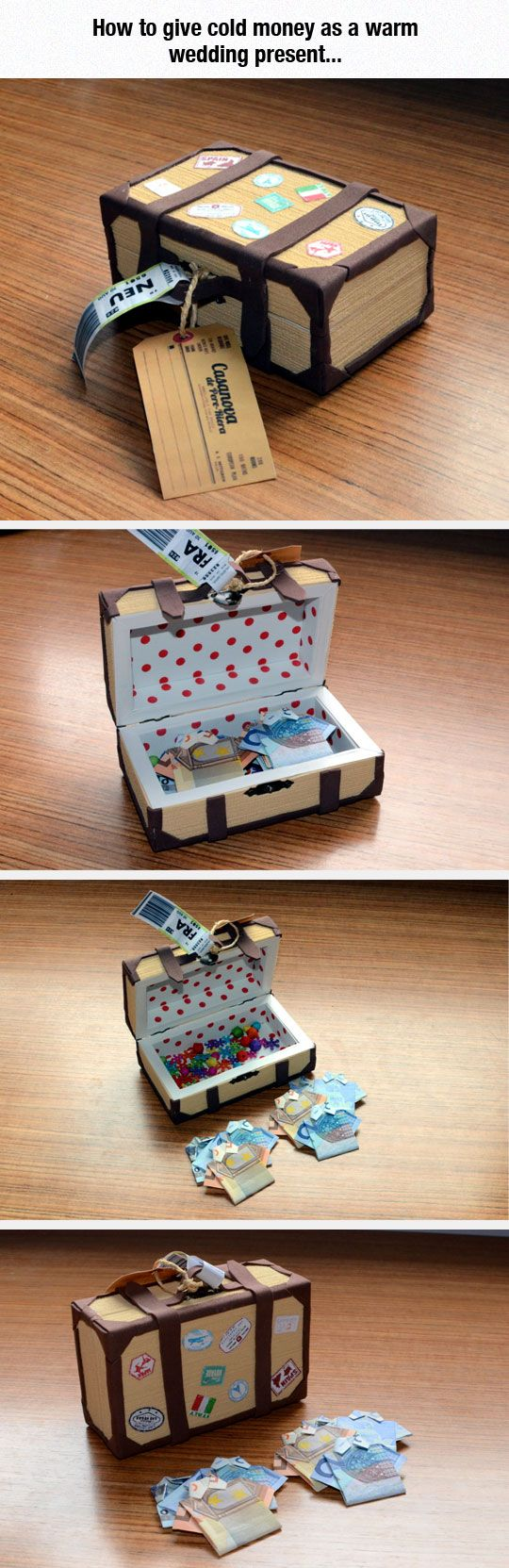 The Right Way to GIFT MONEY! Love the folded money Tees packed in a tiny handmade suitcase! Perfect retirement gift, wedding gift, Travel abroad gift, etc via I Waste So Much Time