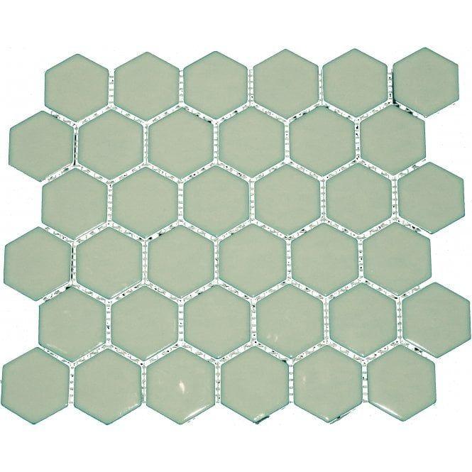 Hexagon Duck Egg Gloss 4 8 Cm X 4 8cm 32cm X 28cm Mosaic Tile