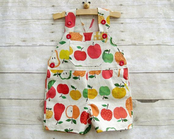 Special Edition! Limited Supply! New kawaii shortall collection features fabric from Japan.  Shortall in summer fruits! Print features apples and