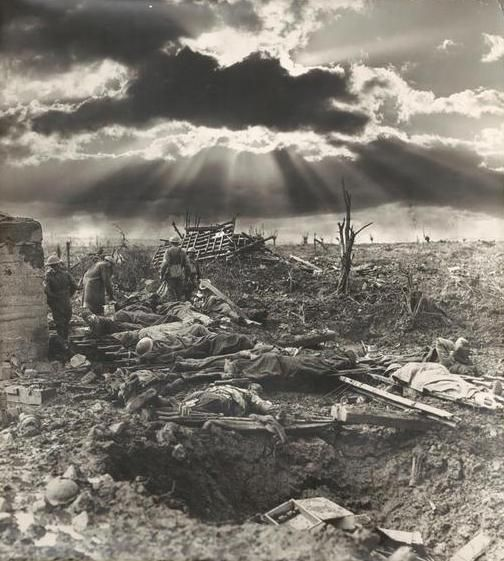The morning after the first battle of Paschendaele [Paschendale], Australian Infantry wounded around a blockhouse near the site of Zonnebeke Railway Station,12 October 1917