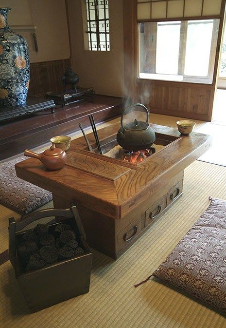 A more portable version of the traditional sunken hearth in the Japanese home evolved into the kanto naga-hibachi – these were originally made of timber lined with clay and later, emerged in box like form with a metal liner, often of copper.   Later still, the hibachi took the form of a wooden cabinet…………