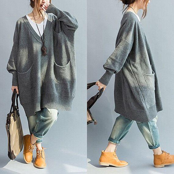 Women Vneck sweater pocket lantern sleeve casual by qinbailiang