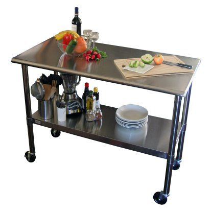 TRINITY EcoStorage™ 48 in. NSF Stainless Steel Prep Table with Wheels