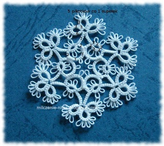 Tatter from Poland's snowflake, a photo with stitch counts (Completed)