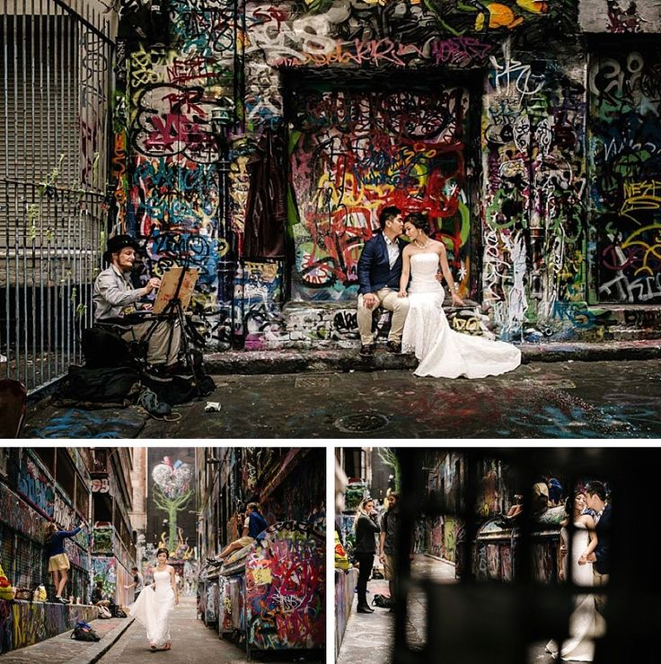 Today we are going on a journey and present to everyone a unique sort of outdoor wedding photography by Melbourne's own On Three Photography & Cinematic. First up, we present to you a set of Melbourne city bridal photographs. These images are taken in Melbourne's famous Hosier Lane, visited by many known graffiti artistes around the world, the lane is filled with different styles and colours of graffiti, contributing to Melbourne's cultural identity as an artistic city.