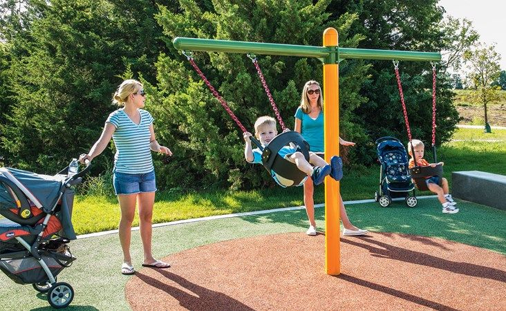 Toddler Swings - Angled Chains & Two Full Bucket Seats-Galvanized Steel Posts - Landscape Structures