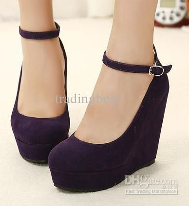 Wholesale 2013 Cute 2 suede purple wedges black wedges womens ankle strap high plarform wedges heel shoes, Free shipping, $21.8-24.78/Pair | DHgate