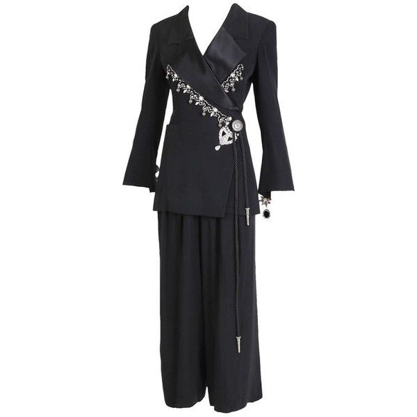 Preowned 1994 Christian Dior Black Tuxedo Jacket & Pant Ensemble... (€1.095) ❤ liked on Polyvore featuring men's fashion, men's clothing, men's pants, black, trouser pant suits, mens pleated pants, mens high waisted pants and mens tuxedo pants