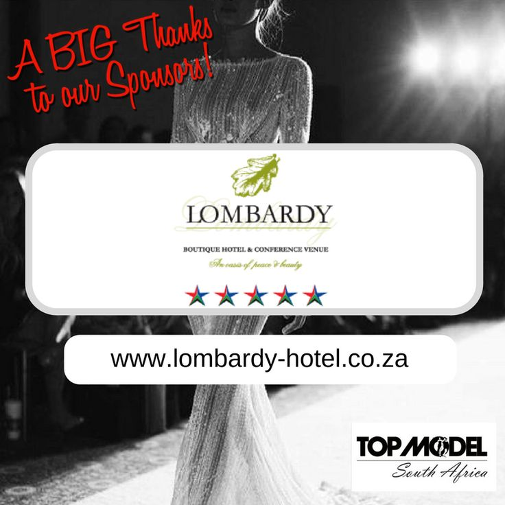 Thanks to Lombardy Boutique Hotel & Conference Venue for your sponsorship and for hosting the TOP MODEL UK, @Top Model Worldwide, Fashion International Director and his wife, who are flying in from London, to be at our grand finale! We appreciate your support!  Visit them on www.lombardy-hotel.co.za #TMSA17 #TMSASponsor