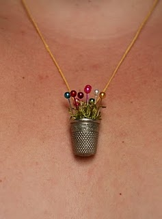 Thimble flower pot necklace - adorable!