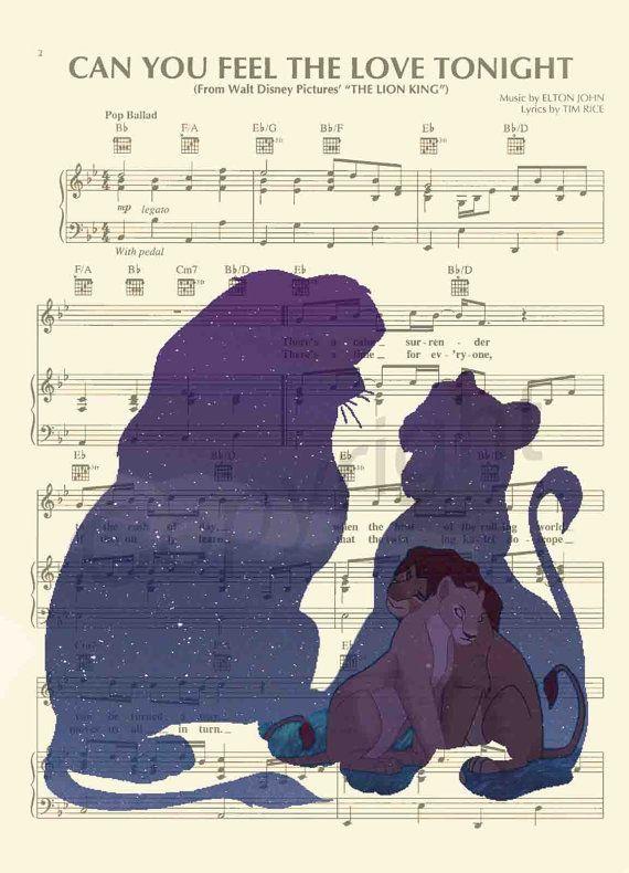 The Lion King Simba and Nala Sheet Music Art Print by AmourPrints