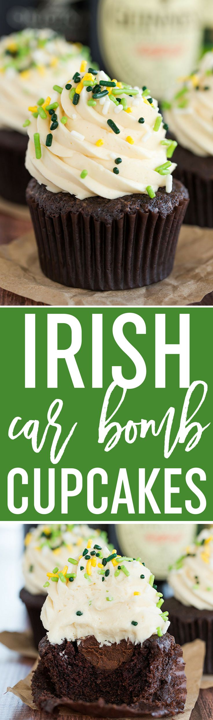 Irish Car Bomb Cupcakes :: Guinness chocolate cake, Jameson whiskey ganache filling, and Baileys buttercream frosting. via @browneyedbaker