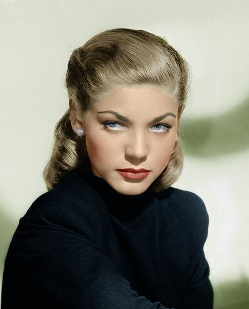 "Lauren Bacall, beautiful color photo of her! ""Great actress"""
