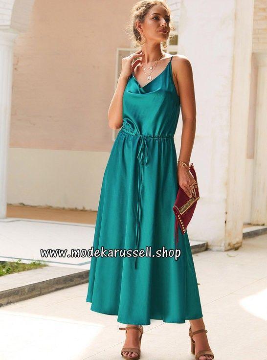 Schulterfreies Seidenkleid Elegant und Festlich in Grün