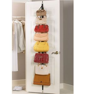 Easily organize and display your purse collection and other personal accessories on a pair of Over the Door Adjustable Purse Racks.  These versatile purse rack install directly onto a wall or doors measuring 1 3/8 inch thick and provide eight adjustable height storage hooks each to hold purses handbags belts scarves ha