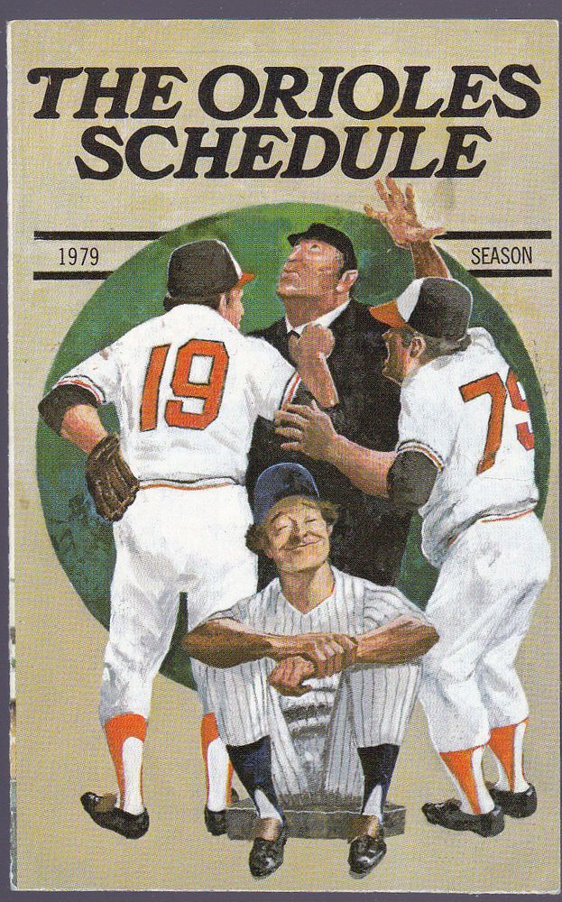1979 BALTIMORE ORIOLES CROWN STATIONS GAS BASEBALL SCHEDULE EX+MT FREE SHIPPING #Schedule