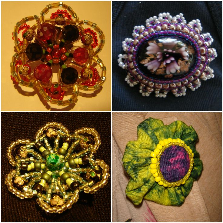 Beaded and Textiles Brooch
