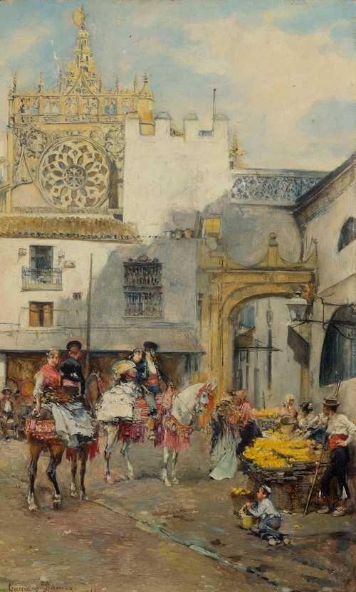 RAMOS, JOSÉ GARCIA    (1852 Seville 1912)    Market scene with orange sellers in Seville.    Oil on panel.    Signed and inscribed lower left: Garcia y Ramos, Sevilla.    28.6 x 17.8 cm.