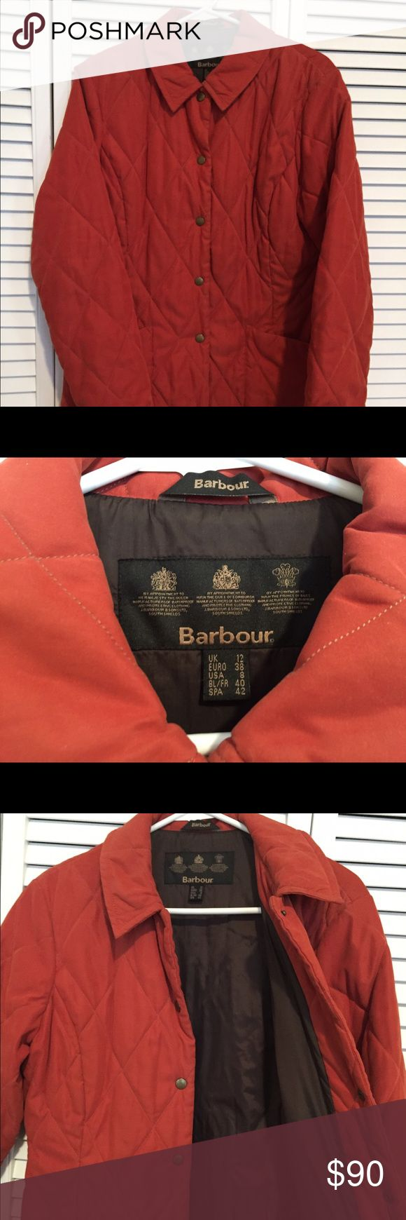 Barbour quilted jacket Beautiful, buttery soft orange Barbour quilted jacket. Usable for 3 seasons, but not heavy enough to be used in winter. Dark brown lining. Barbour Jackets & Coats