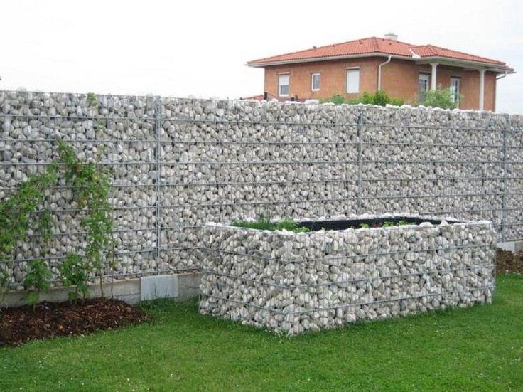 clôture de jardin moderne - gabion original en pierre naturelle et métal